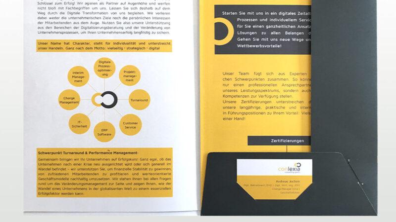 Mappe und Broschüre Conlexia